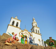 Colonial church in Mexico. Mexican church and nativity in Santiago Nuevo Leon, Mexico Stock Photography