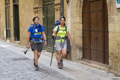 Santiago pilgrims stock photos