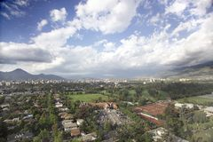 Santiago after the rain. Santiago city - Chile-  after the rain with country club in first plane Stock Photography