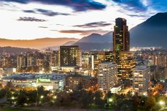 Las Condes district. Santiago, Region Metropolitana, Chile - May 25, 2017: View of Parque Arauco, a shopping mall in Las Condes district, with shopping, hotels Royalty Free Stock Photos