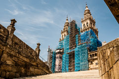 Santiago`s Cathedral from the bottom. Santiago de Compostela`s Cathedral. View from the bottom. Spain Stock Image