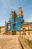 Santiago`s Cathedral main facade. Square where is the main facade of the Santiago de Compostela`s Cathedral. Spain Royalty Free Stock Photography