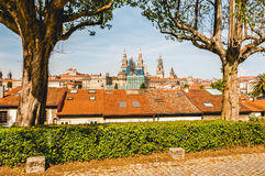 Santiago`s Cathedral from viewpoint. Santiago de Compostela`s Cathedral between trees. Spain Stock Image