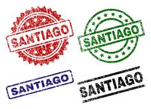 SANTIAGO Seal Stamps texturisé endommagé Illustration de Vecteur