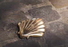 Santiago shel. L (Pilgrims shell), St James shell in Brussels, Belgium Royalty Free Stock Images