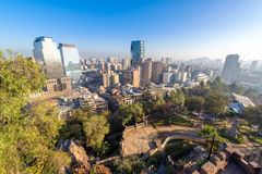 Santiago Skyline and Park Royalty Free Stock Photos