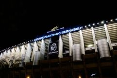View of the facade of the Santiago stadium Bernabeu del Real Madrid at night. Santiago stadium Bernabeu del Real Madrid at night with wide opening of the royalty free stock images