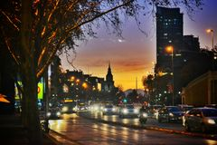 Santiago at sunset. View of Santiago de Chile at sunset royalty free stock photography
