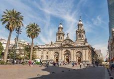 Santiago Wielkomiejska katedra przy Placem De Armas Obciosujący, Santiago -, Chile obrazy stock