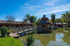 Santichon村庄,一个小中国人云南村庄 库存照片