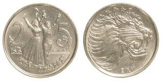 25 santim ethiopian moneta Zdjęcia Stock