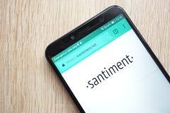 Santiment δικτύων SAN ιστοχώρος cryptocurrency που επιδεικνύεται συμβολικός στο smartphone Huawei Y6 2018 στοκ εικόνες