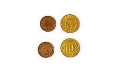 2, 10 Santimu, monete lettoni dei centesimi Immagine Stock