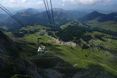 Santis in Switzerland. A slow climb to the top of Santis Mountain in Switzerland stock image