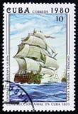 Santisima Trinidad, 1805, Ship under Construction Stock Photo