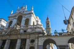 Santissima安农齐亚塔教会在都灵 免版税库存照片