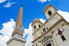 Santissima Trinita dei Monti church and ancient obelisk, Rome Stock Photos