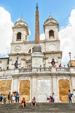 Santissima Trinita dei Monti church and ancient obelisk in Rome Royalty Free Stock Image