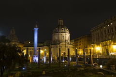 Santissimo Nome di Maria al Foro Traiano at night - Rome Stock Photos