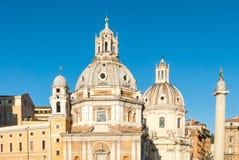 Santissimo Nome Di Maria al Foro Traiano, Santa Maria Di Loreto kościół i Trajans kolumna Zdjęcie Royalty Free