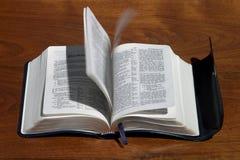 Santo-Alcohol que mueve de un tirón las paginaciones de la biblia Imagen de archivo libre de regalías