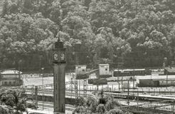 Old clock of the railway station in English style Royalty Free Stock Photos