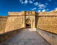 Santo Angelo Gates del fuerte en Citta Vittoriosa (Birgu) Imágenes de archivo libres de regalías