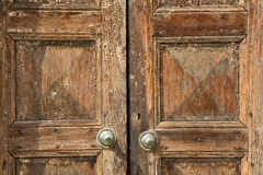 Santo antonino abstract samarate   rusty brass brow. N knocker in a  door curch  closed wood lombardy italy  varese Stock Images