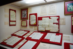 Santo Domingo, Δομινικανή Δημοκρατία Αυθεντικά χειρόγραφα από το Christopher Columbus Μουσείο μέσα στο φάρο του Columbus Στοκ Φωτογραφία