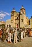 Santo Domingo Church with Migrantes, Oaxaca Stock Images