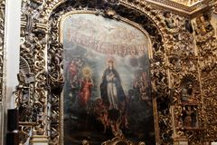 Santo Domingo Church, Puebla, Mexique images libres de droits