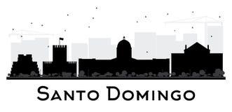 Santo Domingo City skyline black and white silhouette. Royalty Free Stock Photo