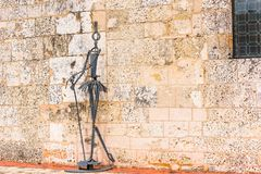 SANTO DOMINGO, DOMINICAN REPUBLIC - AUGUST 8, 2017: View of the sculpture near the building of the museum of Royal Houses. Copy sp. Ace for text Royalty Free Stock Photography