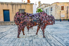 Santo Domingo, Dominican Republic. Bull sculpture of iron, Museum of the Royal House. Museum of Las Casas Reales. Royalty Free Stock Photography