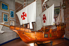 SANTO DOMINGO, DOMINICAN REPUBLIC. Columbus` ships reproduction. Museum inside the Lighthouse of Christopher Columbus. Royalty Free Stock Photography