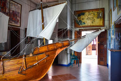 SANTO DOMINGO, DOMINICAN REPUBLIC. Columbus` ships reproduction. Museum inside the Lighthouse of Christopher Columbus. Royalty Free Stock Image