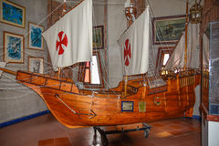 SANTO DOMINGO, DOMINICAN REPUBLIC. Columbus` ships reproduction. Museum inside the Lighthouse of Christopher Columbus. Stock Photography