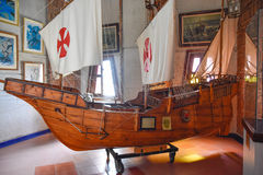 SANTO DOMINGO, DOMINICAN REPUBLIC. Columbus` ships reproduction. Museum inside the Lighthouse of Christopher Columbus. Royalty Free Stock Photo