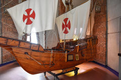 SANTO DOMINGO, DOMINICAN REPUBLIC. Columbus` ships reproduction. Museum inside the Lighthouse of Christopher Columbus. SANTO DOMINGO, DOMINICAN REPUBLIC royalty free stock image