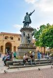 Santo Domingo, Dominican Republic. Famous Christopher Columbus statue and Cathedral Santa María la Menor in Columbus Park. Royalty Free Stock Photography
