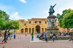 Santo Domingo, Dominican Republic. Famous Christopher Columbus statue and Cathedral Santa María la Menor in Columbus Park. Royalty Free Stock Photo