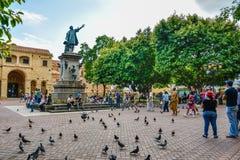 Santo Domingo, Dominican Republic. Famous Christopher Columbus statue and Cathedral Santa María la Menor in Columbus Park. Stock Images