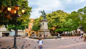 Santo Domingo, Dominican Republic. Famous Christopher Columbus statue and Cathedral Santa María la Menor in Columbus Park. Royalty Free Stock Photos
