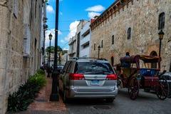 SANTO DOMINGO, DOMINICAN REPUBLIC - 1 NOVEMBER 2015: Streets of Santo Domingo. SANTO DOMINGO, DOMINICAN REPUBLIC - NOVEMBER 1, 2015: Typical streets in downtown Stock Image