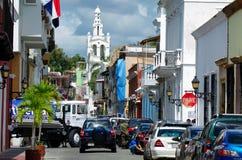 SANTO DOMINGO, DOMINICAN REPUBLIC - 1 NOVEMBER 2015: Streets of Santo Domingo. SANTO DOMINGO, DOMINICAN REPUBLIC - NOVEMBER 1, 2015: Typical streets in downtown Stock Images