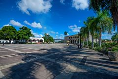 SANTO DOMINGO, DOMINICAN REPUBLIC - OCTOBER 30, 2015: Plaza de Espana in Santo Domingo, Dominican Republic. Columbus first reached land in this country Stock Images