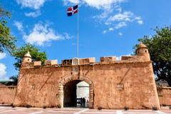Santo Domingo, Dominican Republic. Puerta del Conde (The Count's Gate). Santo Domingo, Dominican Republic. Altar de la Patria, The Altar of the Homeland. Houses Stock Photo