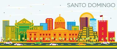 Santo Domingo Dominican Republic Skyline com construções da cor e o céu azul ilustração do vetor