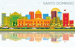 Santo Domingo Dominican Republic Skyline com construções da cor, o céu azul e as reflexões ilustração do vetor