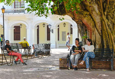 Santo Domingo, Dominican Republic. Street life and view of Calle el Conde and Colonial Zone of Santo Domingo city. Stock Photography